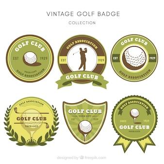 Coleção de etiquetas verdes de golfe