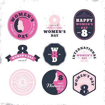 Coleção de etiquetas vintage para o dia das mulheres