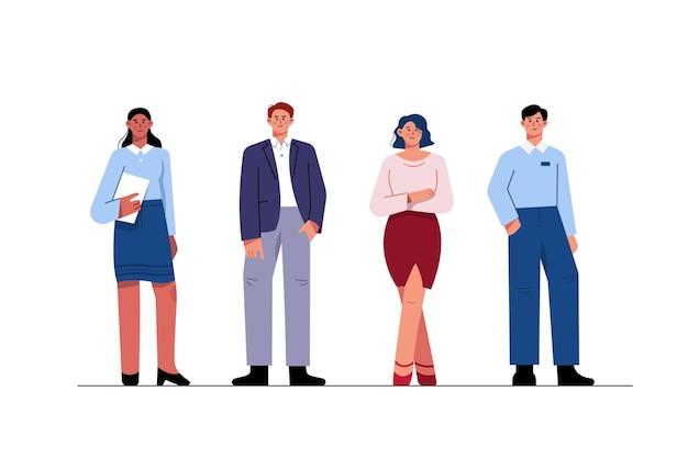 Coleção de executivos planos em trajes profissionais, homens e mulheres confiantes