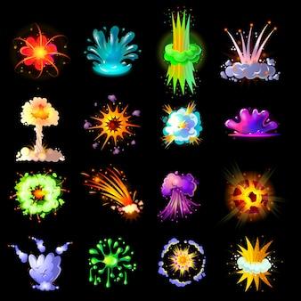 Coleção de explosões coloridas de desenho animado