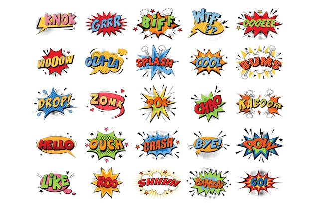 Coleção de explosões de cores emocionais de desenhos animados