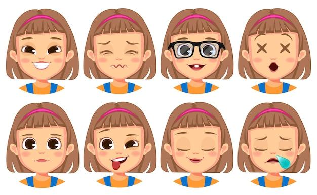 Coleção de expressões faciais de garota fofa