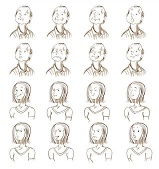 Coleção de expressões faciais
