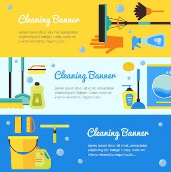Coleção de faixa horizontal de limpeza