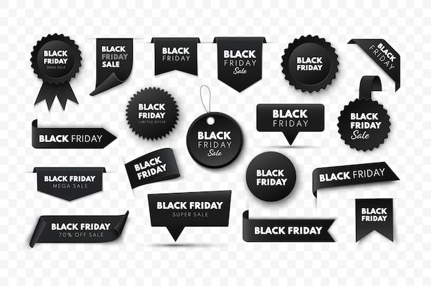 Coleção de faixas pretas de fita de venda na sexta-feira, etiquetas de preço de vetor isoladas