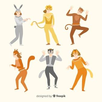 Coleção de fantasia de animais carnaval plana