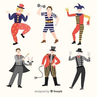 Coleção de fantasia de circo carnaval plana