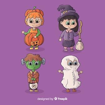 Coleção de fantasia de halloween de crianças bonito dos desenhos animados