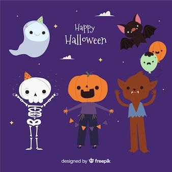 Coleção de fantasia de halloween de crianças