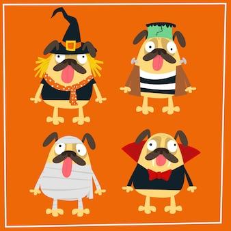 Coleção de fantasia de pug halloween