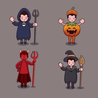 Coleção de fantasias de bruxa fofa de halloween