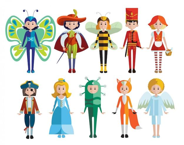Coleção de fantasias de carnaval e crianças