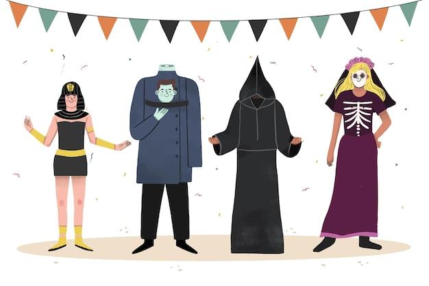 Coleção de fantasias de halloween desenhada à mão