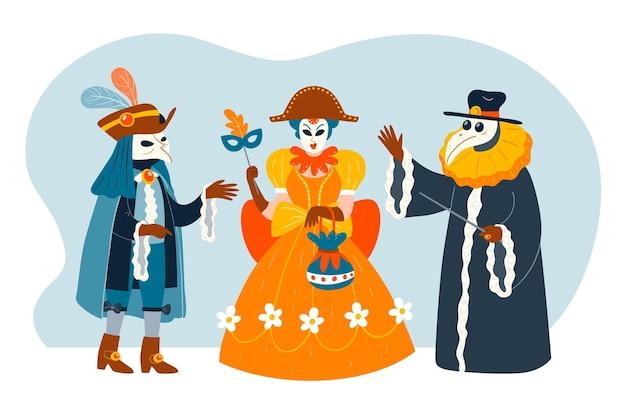 Coleção de fantasias de personagens do carnaval veneziano