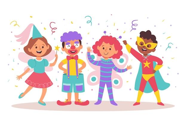 Coleção de fantasias infantis de carnaval de desenhos animados