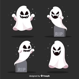 Coleção de fantasma de halloween em design plano