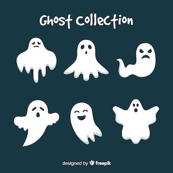 Coleção de fantasma de halloween plana