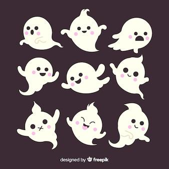 Coleção de fantasma plana crianças halloween