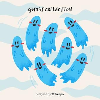 Coleção de fantasmas de halloween bonito em poses diferentes