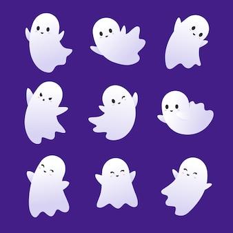 Coleção de fantasmas de halloween com design plano