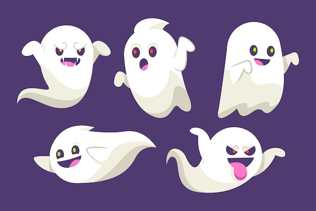 Coleção de fantasmas de halloween de design plano