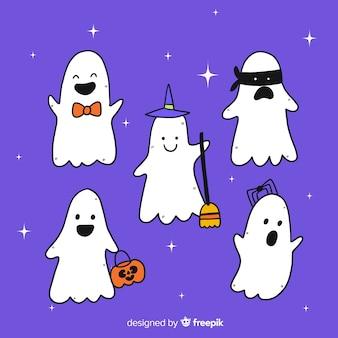 Coleção de fantasmas de halloween de mão desenhada