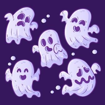 Coleção de fantasmas de halloween desenhada à mão