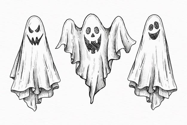 Coleção de fantasmas de halloween desenhados à mão