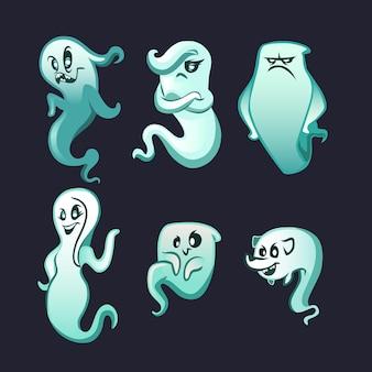 Coleção de fantasmas de halloween em design plano