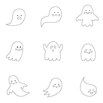 Coleção de fantasmas de halloween em preto e branco.