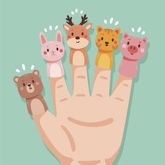Coleção de fantoches de dedo chato orgânico
