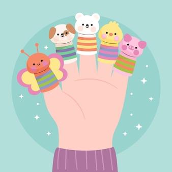 Coleção de fantoches de dedo fofos para crianças