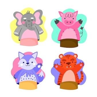 Coleção de fantoches de mão fofos para crianças