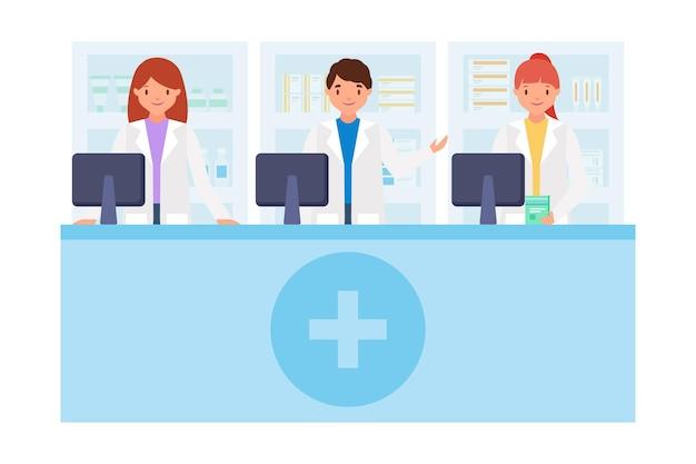 Coleção de farmacêutico em design plano