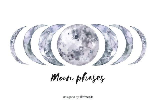 Coleção de fases da lua em aquarela