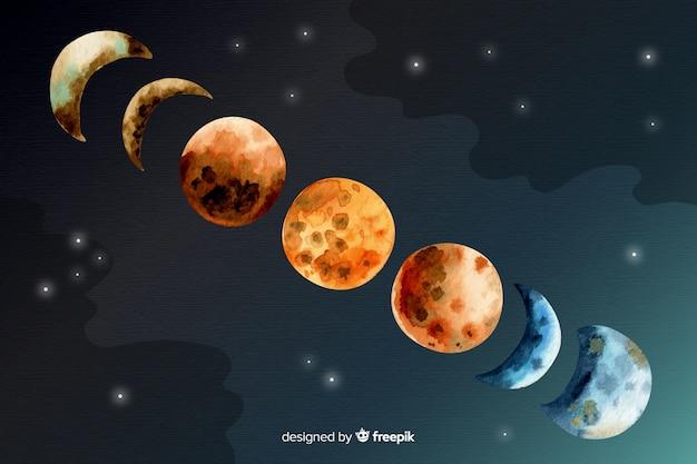 Coleção de fases de lua em aquarela