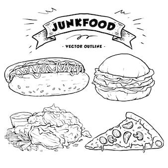 Coleção de fast food ou junk food