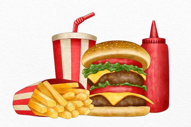 Coleção de fast foods ilustrados