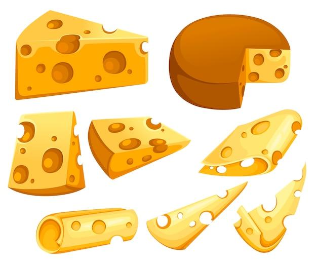 Coleção de fatias de queijo pedaço triangular de queijo conjunto de produtos lácteos