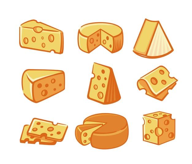 Coleção de fatias e pedaços de queijo.