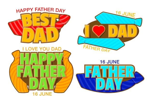 Coleção de feliz dia dos pais. cartão de felicitações para o dia dos pais.