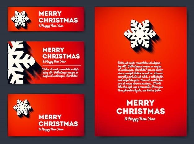 Coleção de feliz natal banners e cartões com floco de neve