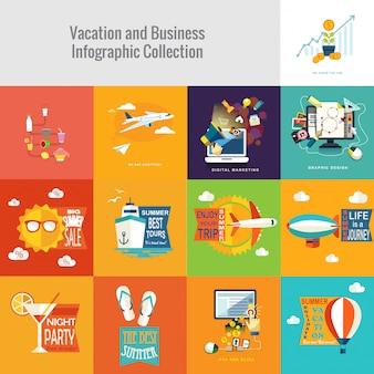 Coleção de férias e negócios infográfico