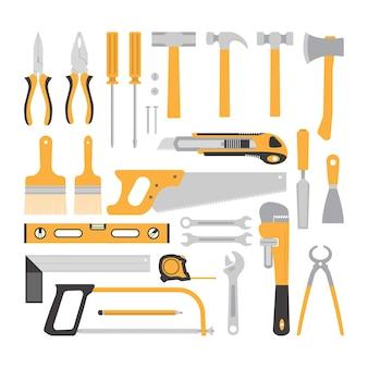 Coleção de ferramentas de carpintaria isolada no branco