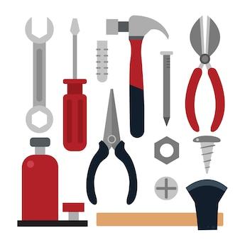 Coleção de ferramentas de carpintaria