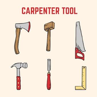 Coleção de ferramentas de carpinteiro
