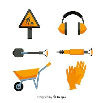 Coleção de ferramentas de construção plana