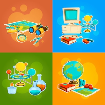 Coleção de ferramentas de geografia e ciência