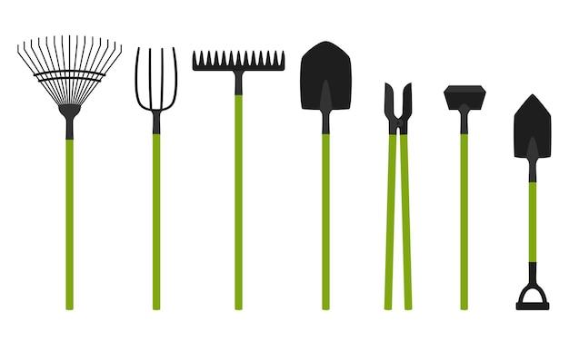 Coleção de ferramentas de jardim isolada no branco