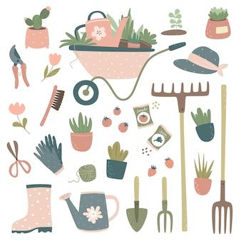 Coleção de ferramentas de jardinagem e carrinho de itens, regador, forcado, ancinho, flores em vasos, luvas de jardinagem, podador, tesouras, sementes.